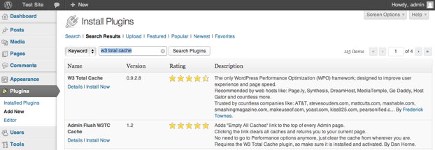 Installing W3 Total Cache Plugin - Publishing with WordPress